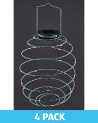 Teal Solar Spiral Light 4 Pack