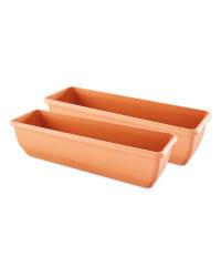 Terracotta Self Watering Trough Set