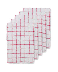 Terry Tea Towels 5 Pack - Red