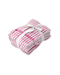 Terry Tea Towels 5 Pack - Pink
