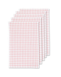 Terry Tea Towels 5 Pack - Sharon Red