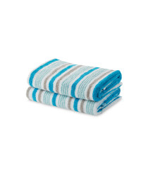 Thin Stripe Hand Towel 2 Pack - Blue & Grey