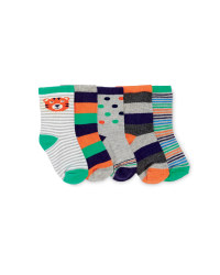 Tiger Print Baby Socks 5-Pack