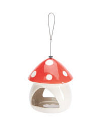 Toadstool Ceramic Bird Feeder