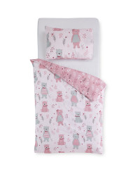 Pink Bear Toddler Duvet Set