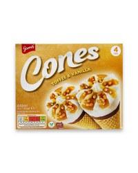 Toffee And Vanilla Ice Cream Cones