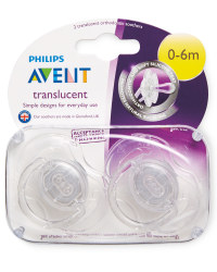 Translucent 0-6m Soothers 2 Pack
