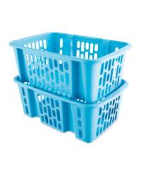 Turquoise Plastic Basket Set 2 Pack