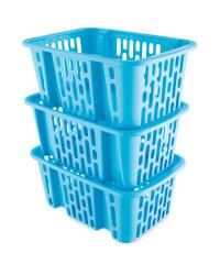 Turquoise Plastic Basket Set 3 Pack