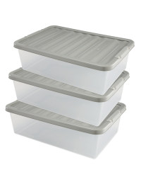 Underbed Storage Box 3 Pack - Grey
