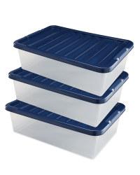 Underbed Storage Box 3 Pack - Navy