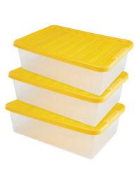 Underbed Storage Box 3 Pack - Yellow