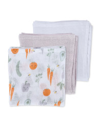 Veggie Patch Muslin Cloths 3 Pack