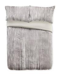 Crinkle Velvet Super King Duvet Set - Grey