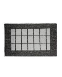 Washable Grey Check Kitchen Mat