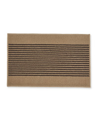 Washable Striped Mat - Beige/Brown