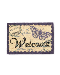 Welcome Butterfly Design Coir Mat