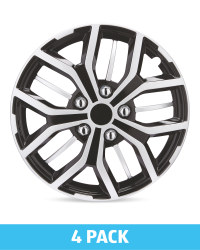 "Silver/Black 15"" Wheel Trims 4 Pack"