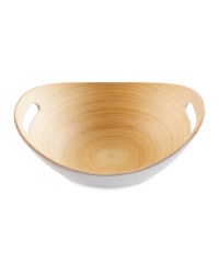 White Bamboo Oval Bowl