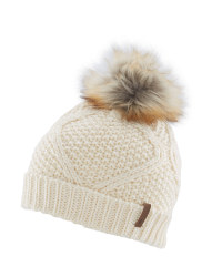 Cream Faux Fur Pompom Hat