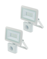 White 10W Floodlight With PIR 2 Pack