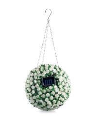 White Flower Solar Topiary Ball