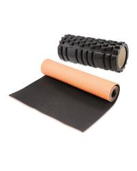 White Foam Roller & Red Fitness Mat