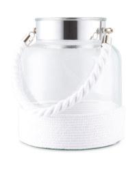White Glass And Woven Lantern