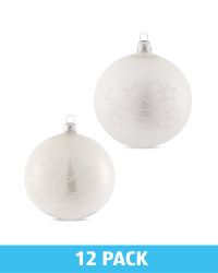 White Glass Baubles 12 Pack