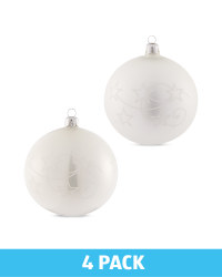 White Glass Baubles 4 Pack