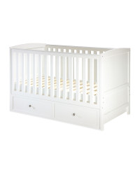 White Nursery Cot Bed With Drawer