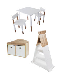 White Toy Box, Chair & Bookcase