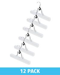 White Wooden Trouser Hangers 12 Pack