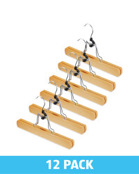 Natural Wood Trouser Hangers 12 Pack