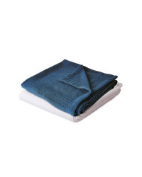 White/Dark Blue Cellular Blanket 2pk