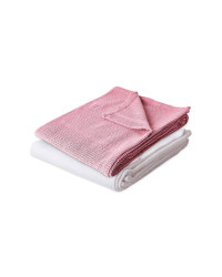 White/Pink Cellular Blanket 2 Pack