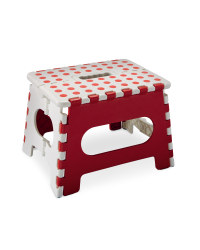 White and Red Folding Step Stool