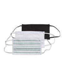 White/Black/Stripes Adults Facemasks