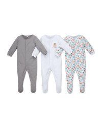 Sheep Organic Baby Sleepsuit 3 Pack