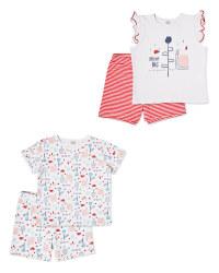 White/Red Shorty Pyjamas 2 Pack