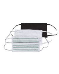 White/Stripe Adult Face Mask 3 Pack