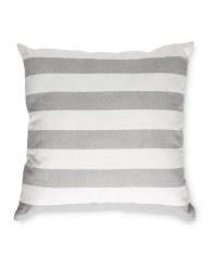 Wide Grey Stripe Cotton Cushion