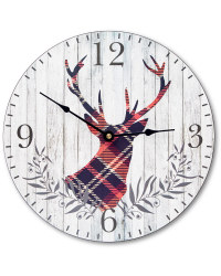 Winter Wall Clock - Tartan Stag