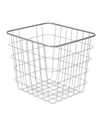 Wire File Storage Basket - Grey