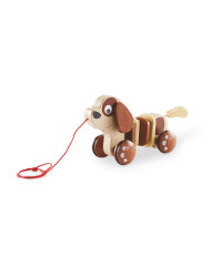 Wooden Brown Dog Pull Along