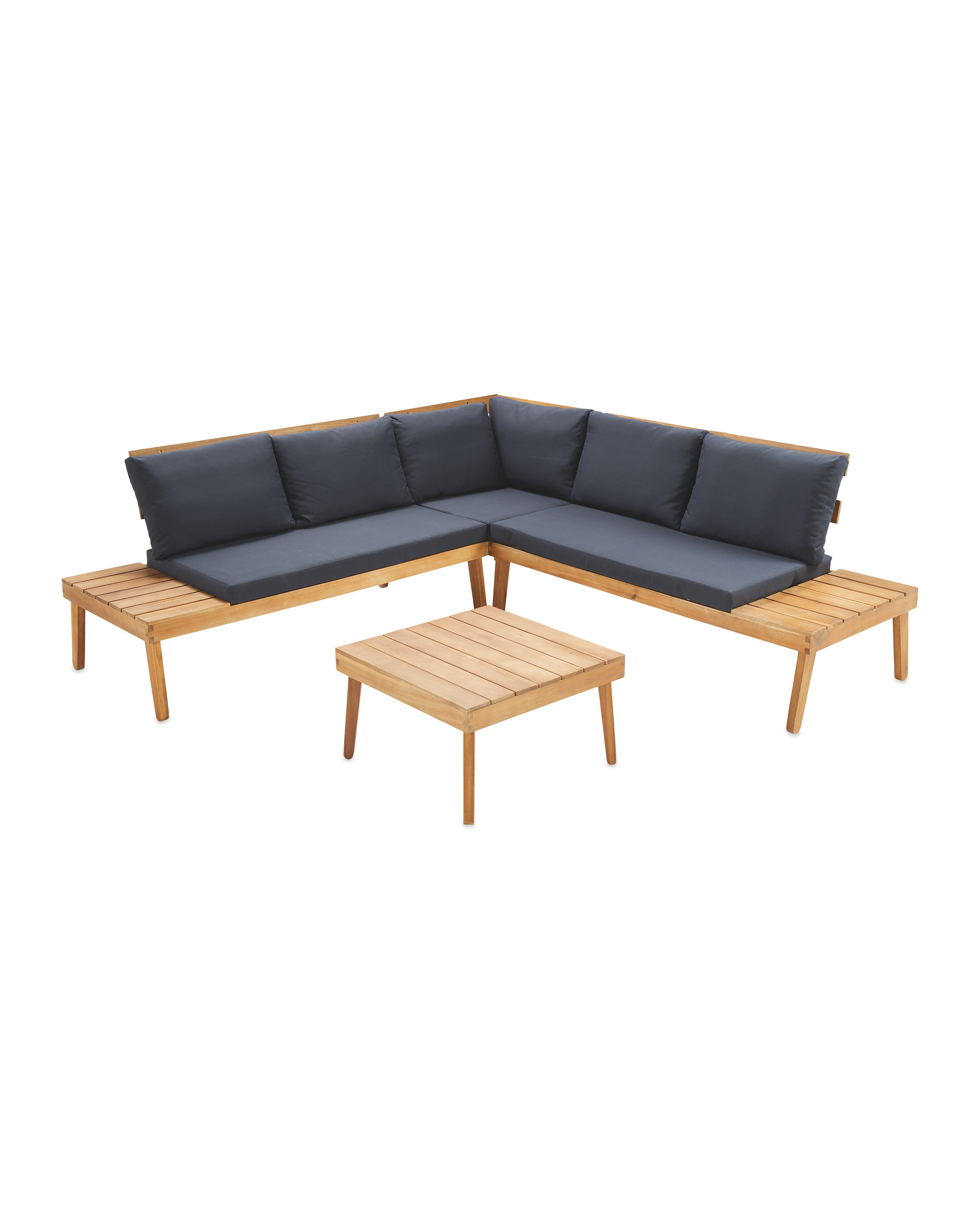 Large Wooden Sofa & Table Set