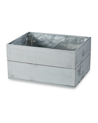 Grey Wooden Crate Planter