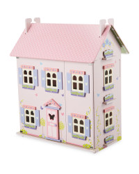 Little Town Wooden Doll's House - Pink/Lilac
