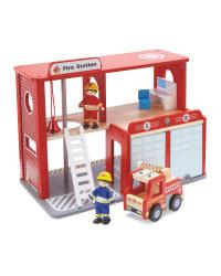 Little Town Wooden Fire Station