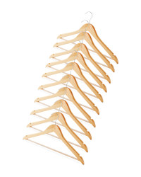 Natural Wooden Hangers 10 Pack